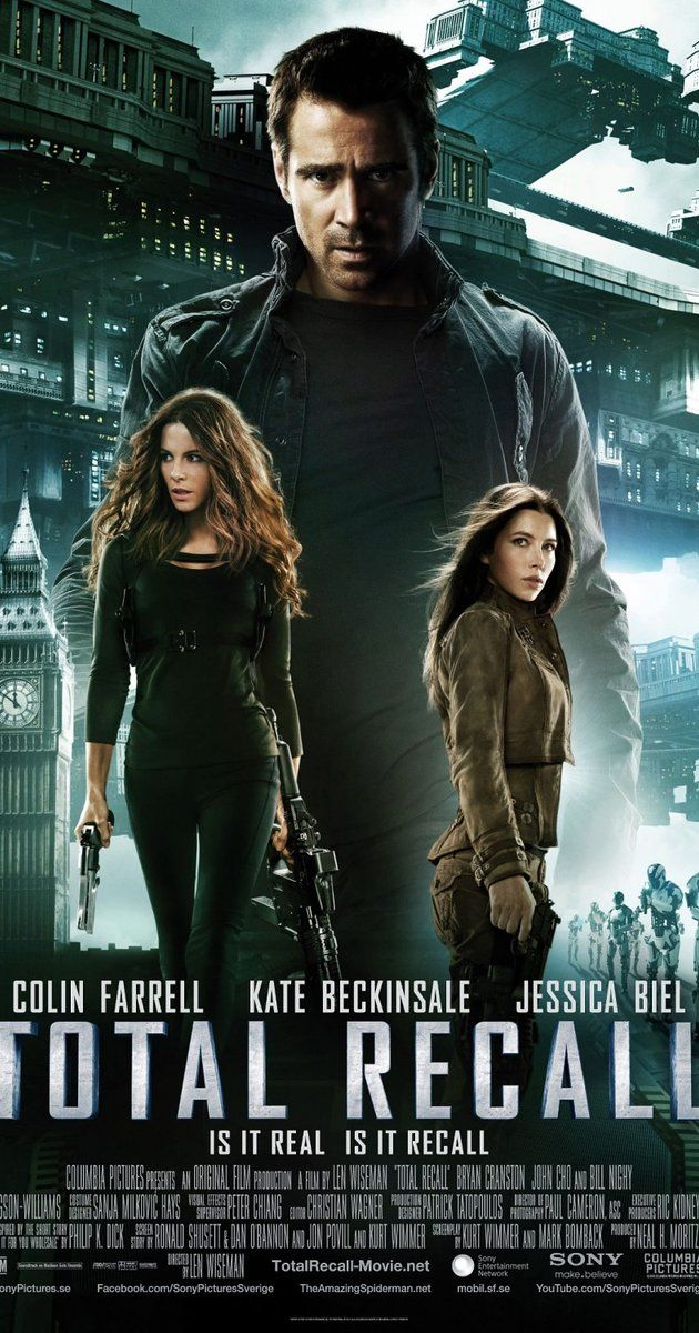 Directed by Len Wiseman.  With Colin Farrell, Bokeem Woodbine, Bryan Cranston, Kate Beckinsale. A factory worker, Douglas Quaid, begins to suspect that he is a spy after visiting Rekall - a company that provides its clients with implanted fake memories of a life they would like to have led - goes wrong and he finds himself on the run.