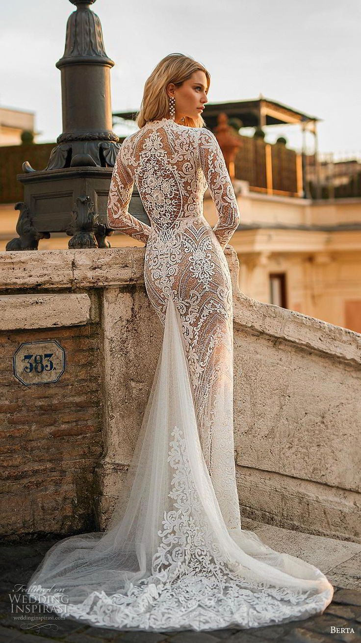 berta 2020 privee bridal long sleeves deep v neck full embellishment sexy elegant sheath wedding dress lace back short t…