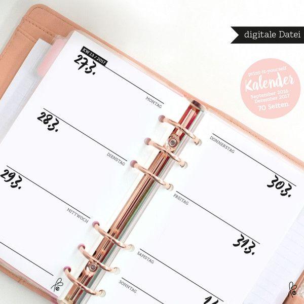 Taschenkalender - Wochenkalender 2017 / Filofax Personal / Printable - ein…