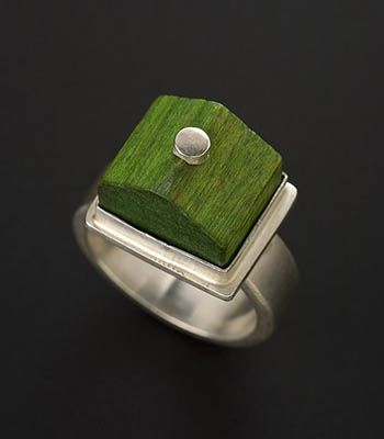 Monopoly by Marina Marioni. Ring in sterling silver with wood game piece. Size 8 (may be sized to fit) $323.00