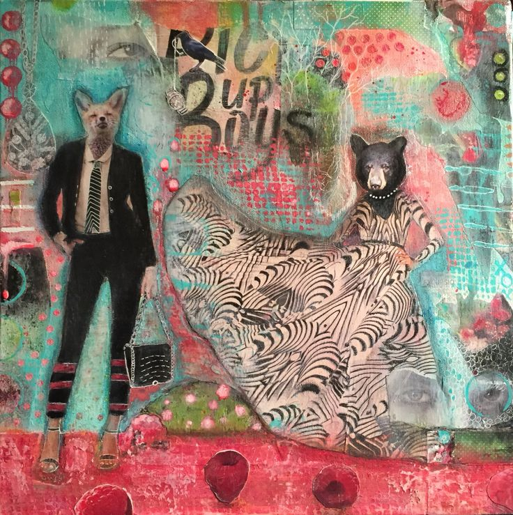 Picking Up Boys by Chasity Heck. 14 x 14 Mixed Media on deep edge canvas. $125