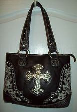 Montana West purse tote bag handbag Black leather clear rhinestones Bling Cross