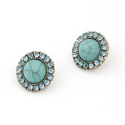 Aros redondos, color turquesa en piedra y cristales, estilo vintage años 60s $4.500