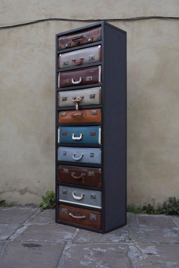 The perfect purpose for vintage suitcases: repurpose them as uniquely awesome drawers!
