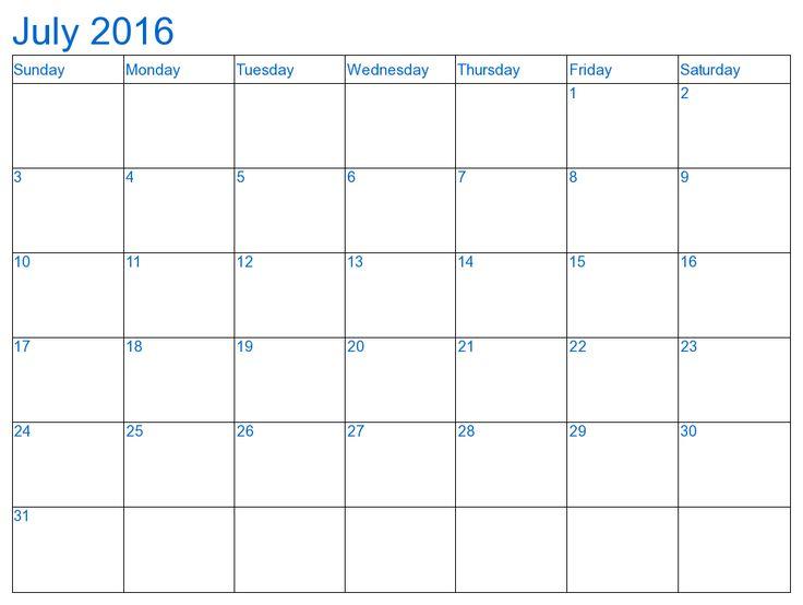 Mer enn 25 bra ideer om July 2016 calendar template på Pinterest - calendar template excel