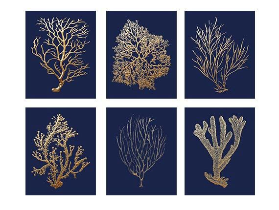 Navy Gold Art Gold Coral Prints On Navy Navy by BeachHouseGallery, $38.00: