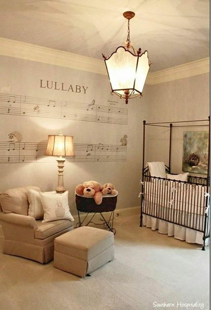 Spotted on pinterest. Bratt Decor's Venetian crib in this lovely music themed nursery.