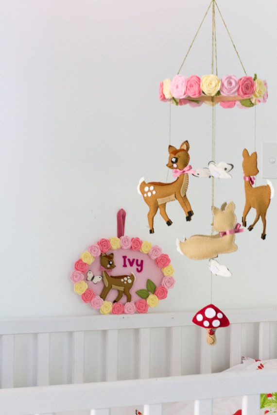 Woodland creatures deer nursery package with baby mobile and personalised name plate / door sign. $135