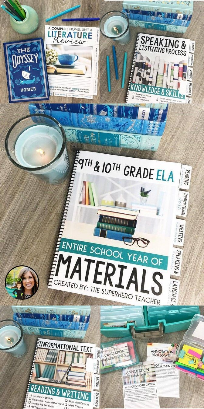 ENTIRE year of ELA materials for 9th and 10th grade English   high school English activities   Reading literature, informational text, speaking and listening, writing, and language   40+ activities   150+ pages   The SuperHERO Teacher