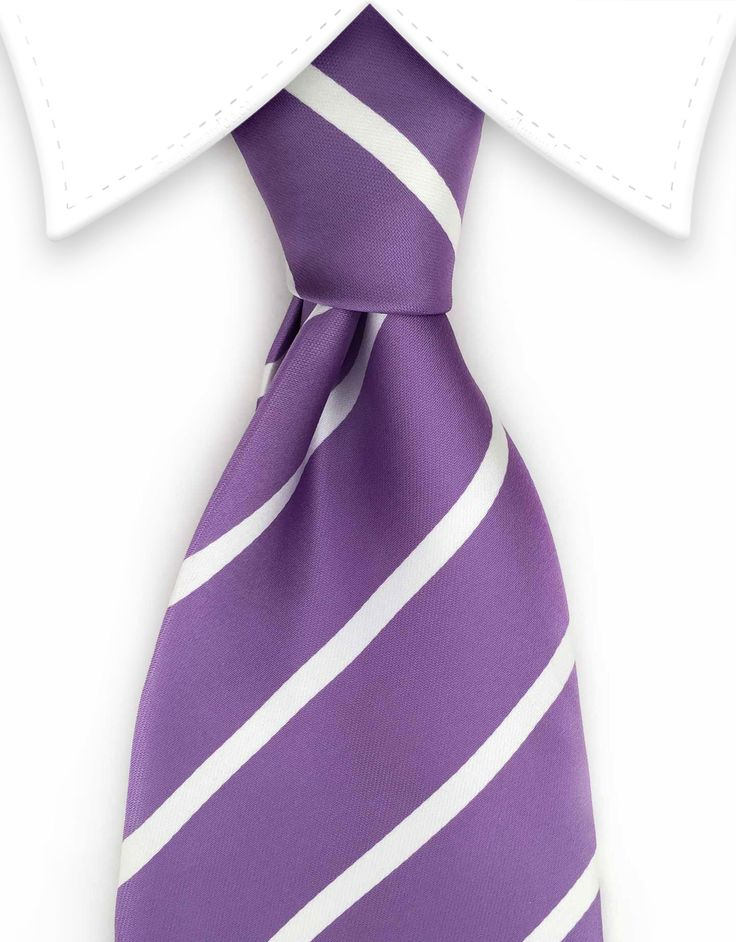 Lavender Purple & White Striped Extra Long Tie