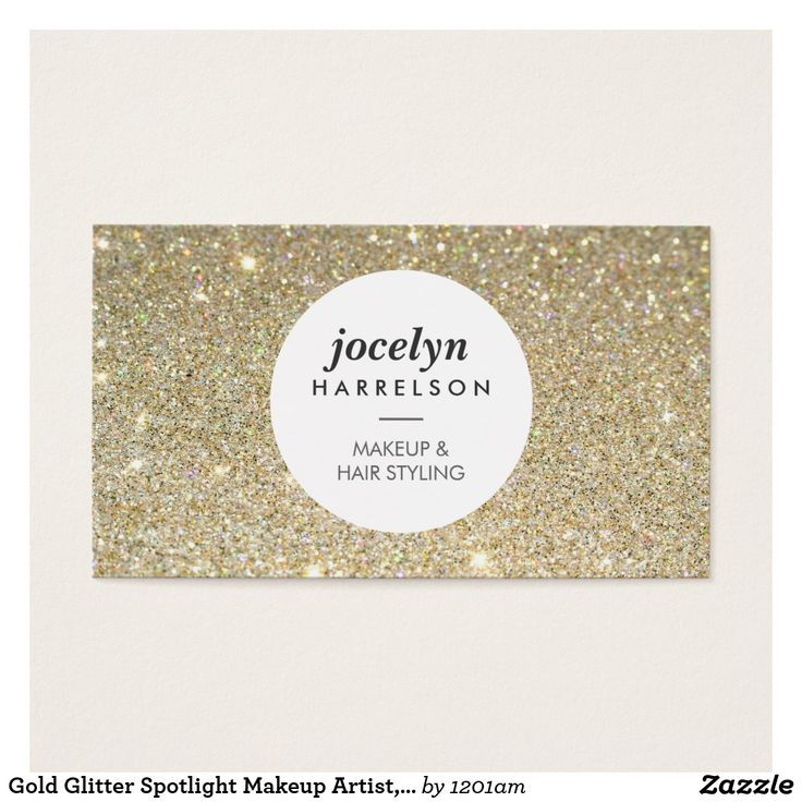 Gold Glitter Spotlight Makeup Artist, Stylist Business Card A faux gold glitter background adds visual interest to this makeup artist or beauty professional's business card template. Your name or business name is stylishly displayed in the spotlight circle along with your profession for an instant brand motif. The double-sided card allows ample room for your contact info on the backside. Design by © 1201AM CREATIVE