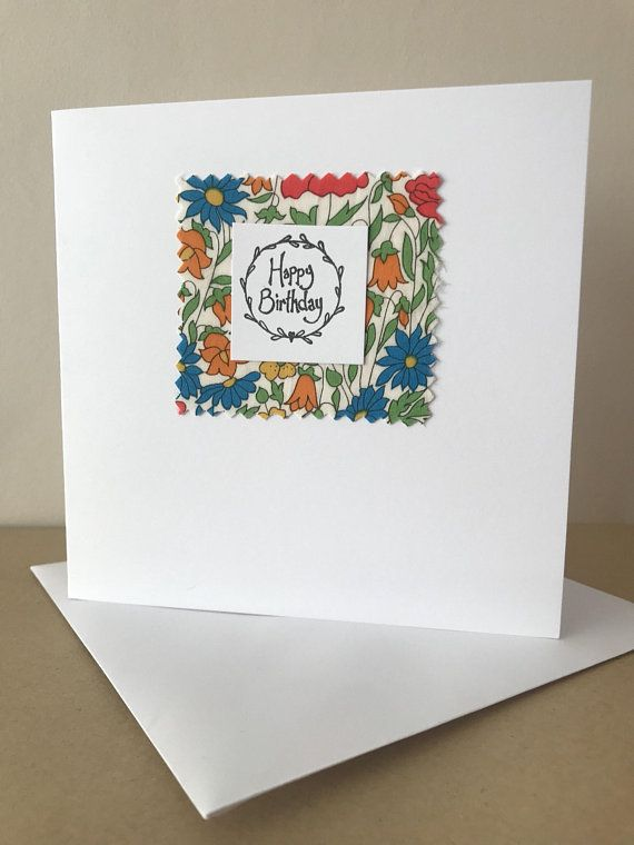 Handmade And Hand Printed Happy Birthday Card Made Using Liberty Of London Fabric Each