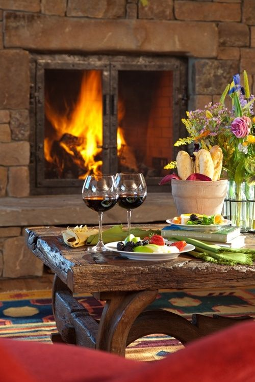 There's nothing better than relaxing by the fireplace with a glass of wine!