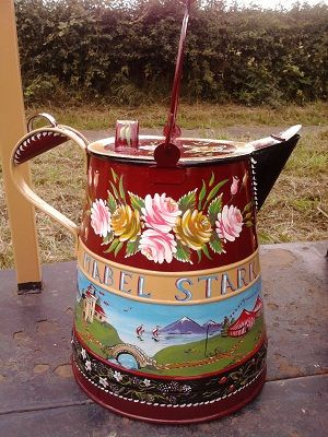 Buckby Can (that's a potable water container used by old working boat people/bargees in England) decorated in traditional style for nb Mabel Stark by Lisa at Roses and Castles
