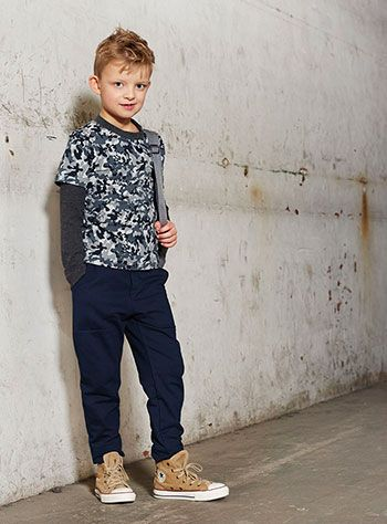 Stretch jersey grå melange camouflage - Stof & Stil