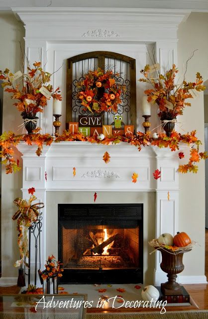 """Beautiful traditional fall mantel! Love the """"falling leaves."""""""
