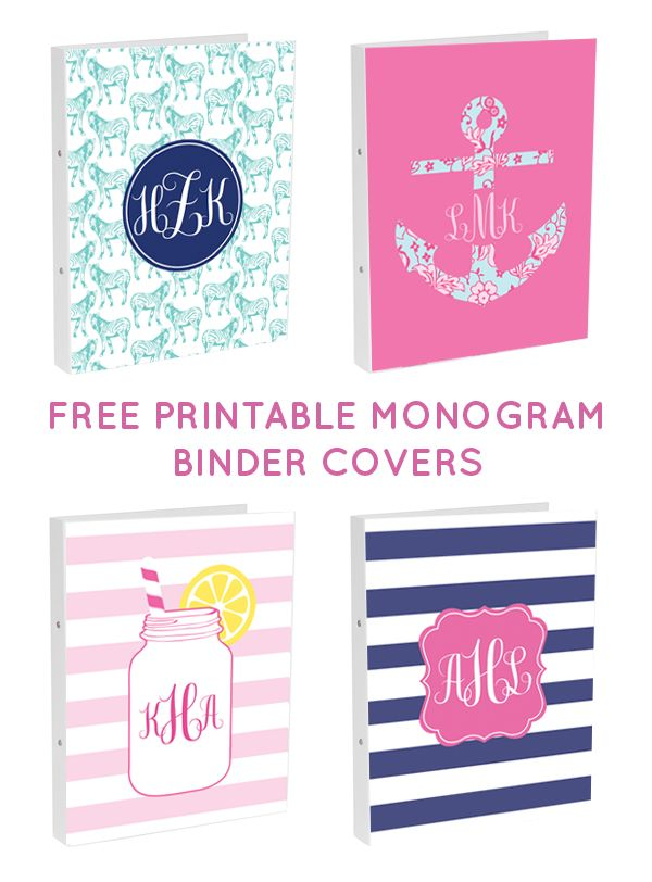 Free printable binder covers from @chicfetti - make your own binder cover with these free monogram binder covers