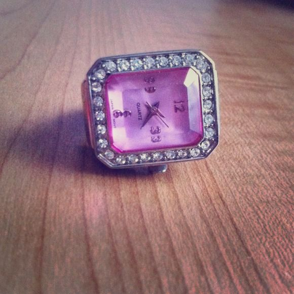 Cool pink stone watch ring!!! Very cool pink stone ring watch!!! Stretchy band so fits any finger! Jewelry Rings