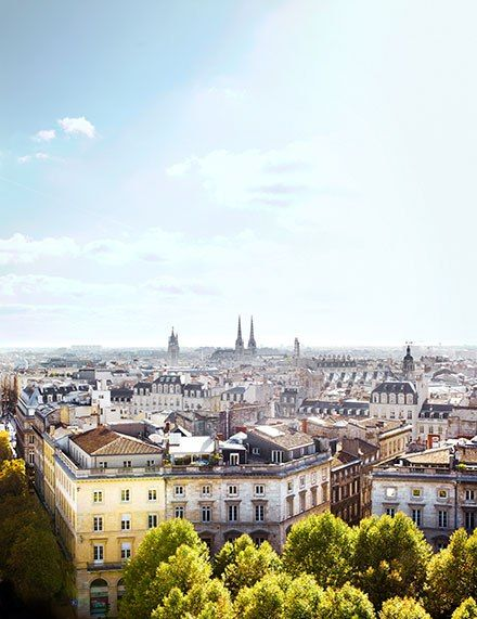 A view across the city's elegant rooftops.  Bordeaux's Must-Visit Shops, Restaurants, and Hotels From gastronomic riches to architectural splendors, the fairy-tale city of Bordeaux reflects France at its finest