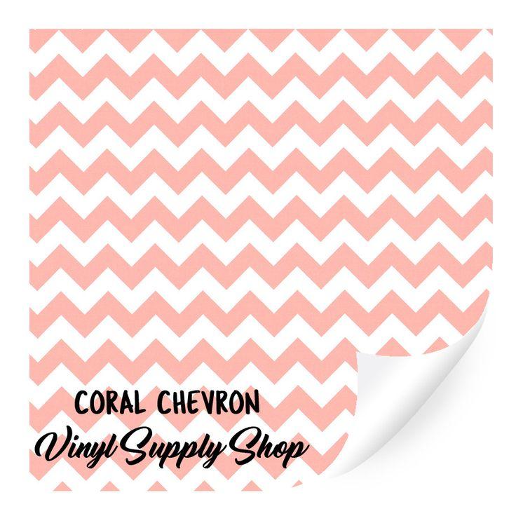 Coral Chevron Patterned Vinyl 12x12
