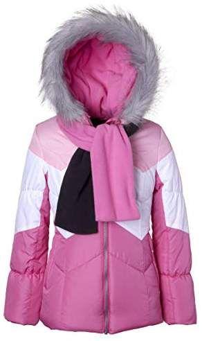 1c374198f7f2 Sportoli Girls  Winter Colorblock Hooded Puffer Bubble Jacket Coat ...