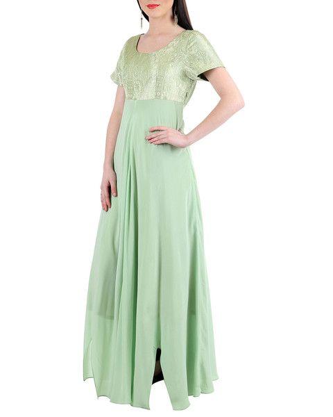 Light Green Banarsi Silk-Crape Long Dress: http://bit.ly/1V5PMJh