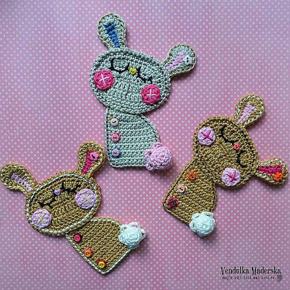 Crochet Bunny applique crochet pattern DIY by VendulkaM on Etsy