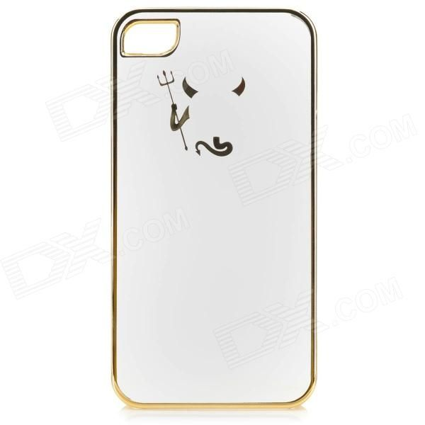 Cute Laser Etching Demon Pattern ABS Back Case for IPHONE 4 / 4S - Transparent + Golden - US$ 3.99 - 02/23/2014 - deal-dx