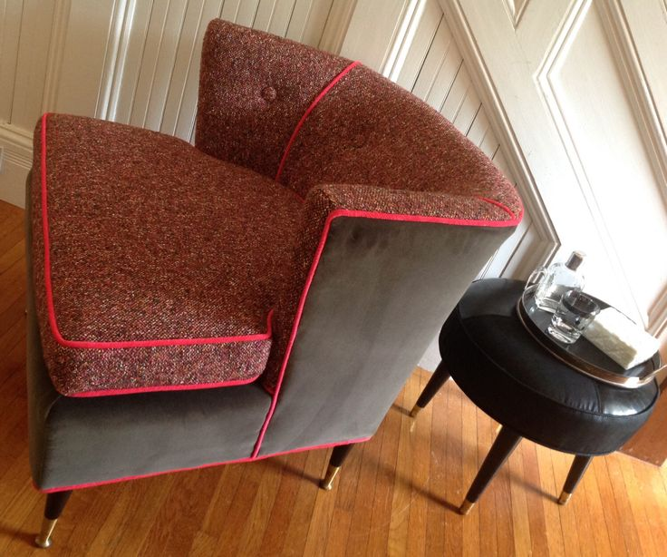 RESERVED FOR taao2010 / Armchair MC Mod 1950s New Upholstery Grey Velvet/Heather…