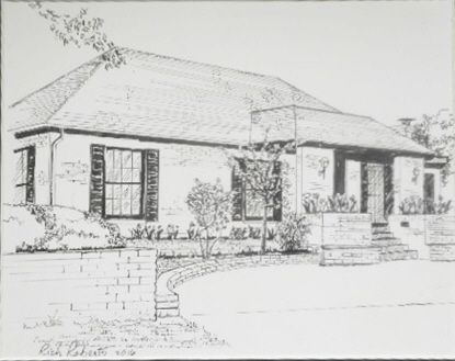 "This is a s typical example of a custom pen and ink signed original drawing that I was commissioned to do.    Just send me a photo of your home and I will create a wonderful, memorable piece of art for you.      Often clients ask me to do their wedding venue for an anniversary gift, or their favorite vacation resort, or even their place of business, such as a restaurant, or a bar, or a bank, or a church.......well, you get the idea.    2 sizes:  5"" X 7"" matted is 10"" X 12""   $125            …"
