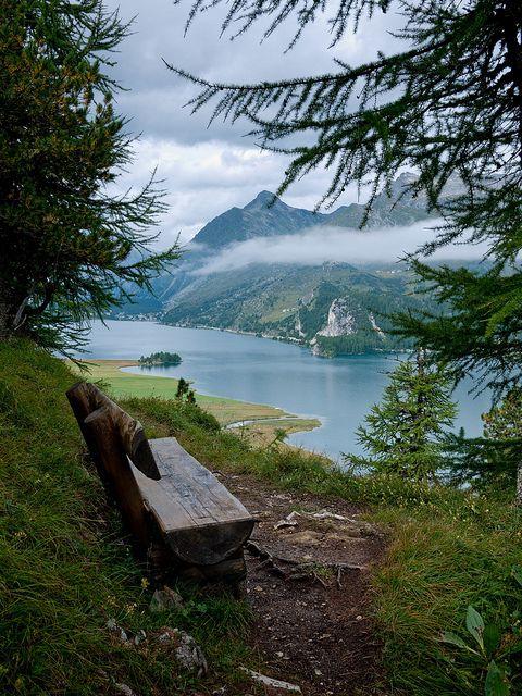 Mountain Bench, Lake Sils, Graubünden, Switzerland