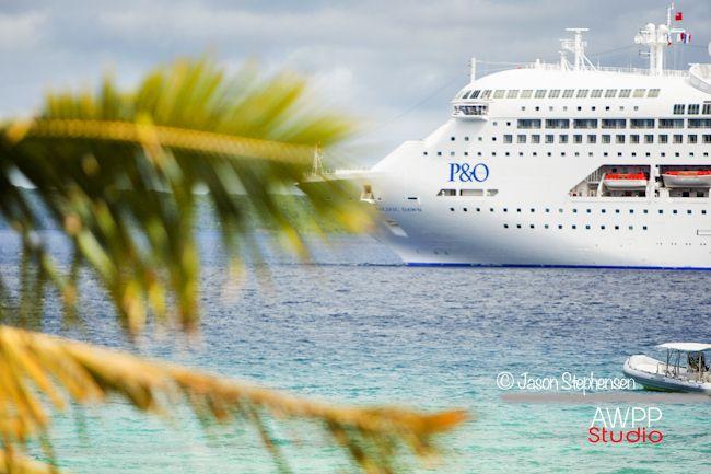 P & O Cruise ship off the Island of Lifou.