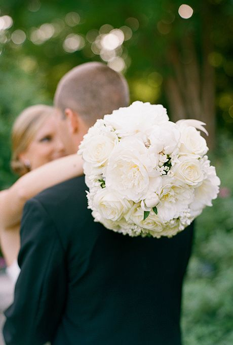 Formal White Peony Wedding Bouquet | Photo by Melissa Schollaert