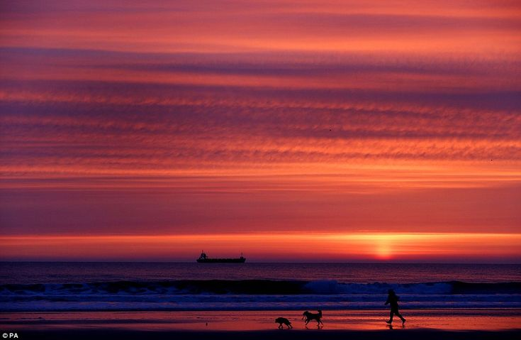 A dog walker on Tynemouth Longsands beach before sunrise today: Temperatures in North Tyne...