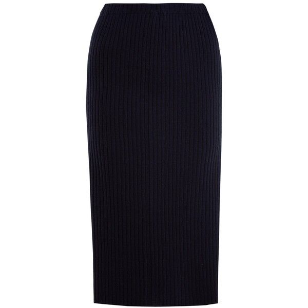 Allude Ribbed-knit cashmere pencil skirt ($330) ❤ liked on Polyvore featuring skirts, navy, navy blue skirt, knee length pencil skirt, rib knit skirt, blue pencil skirt and navy skirt