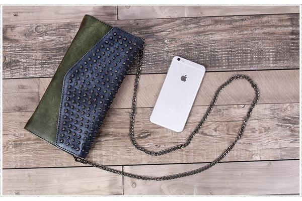 Full Grain Leather Evening Bag Designer Clutch Women Wallet F12