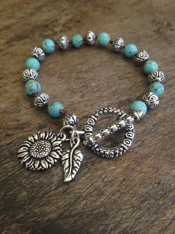 """Sunflower Love Hand Knotted Bracelet """"Beach Chic"""" Turquoise, Bohemian Jewelry $28.00"""