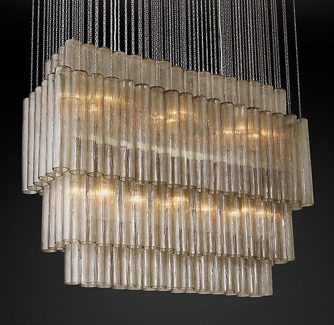 Rh S Serenella Linear Chandelier 49 In The Style Of Venini Our Reion A Mid Century Modern Murano Design Commands Room Suspended From