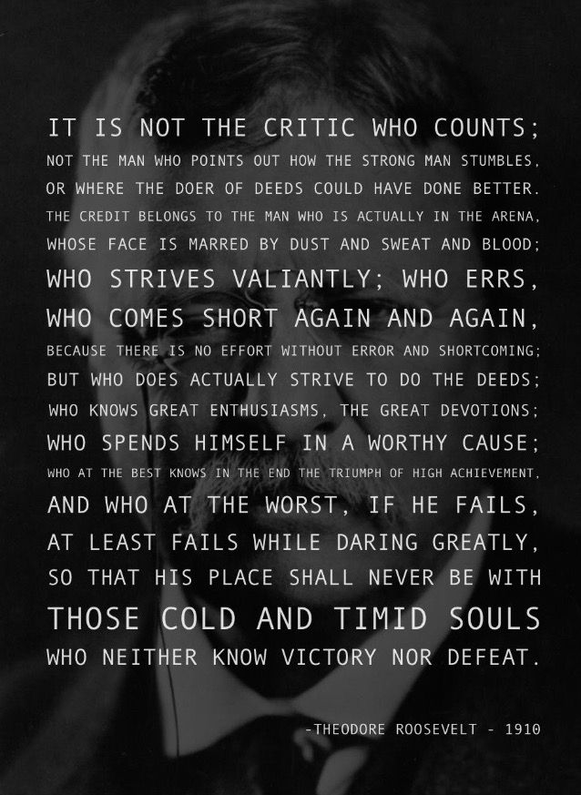 """It is not the critic who counts…"" – Theodore Roosevelt"