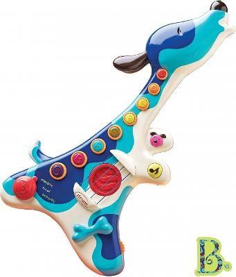 B. Toys Gitara - Piesek Woofer - Gitarka kształtem przypomina wyjącego do księżyca psiaka. Kolorowy kompan jest gotowy do wspólnego muzykowania!