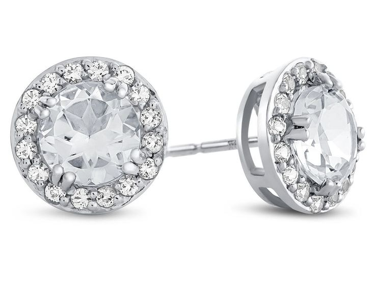 6x6mm Round White Topaz Post-With-Friction-Back Earrings