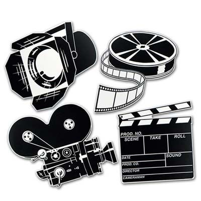 Movie Set Cutouts are a great way to decorate for your movie, film-watching or Academy Awards theme party. Each pack has 4 black & white movie set cutouts. The cutouts are double-sided and 16 inches.