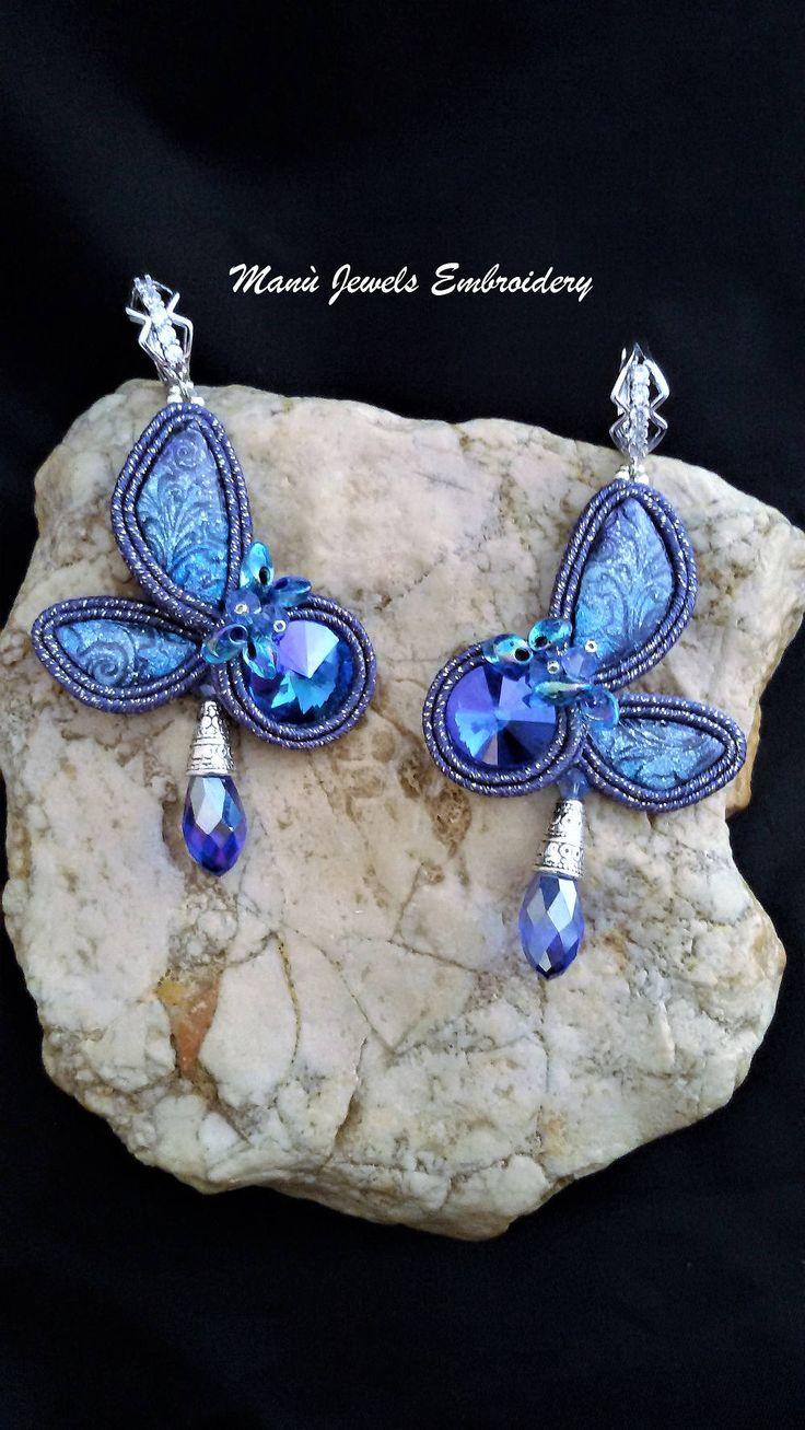 orecchini soutache farfalla blu Soutache Earrings, Handmade Earrings, Hand Embroidered, Soutache Jewelry, Handmade from Italy di ManuJewelsEmbroidery su Etsy