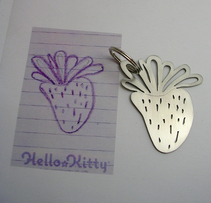 Your child's drawing on key chain -  price quote. $89.00, via Etsy.