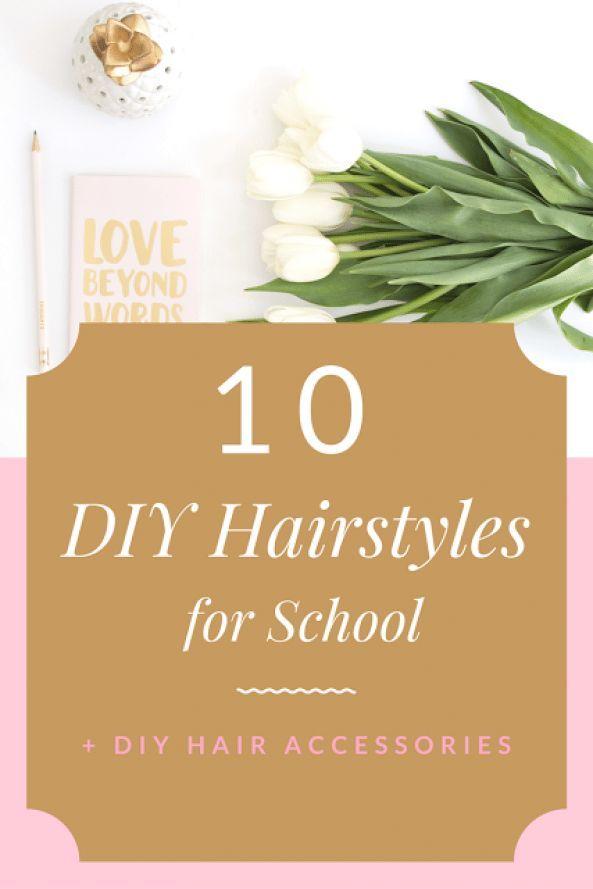 Coiffures de bricolage! Tutoriel de coiffure avec 10 coiffures rapides pour l'école et 10 accessoires de coiffure - Beauté Bedazzled #hairstyles #quick #hairstyles