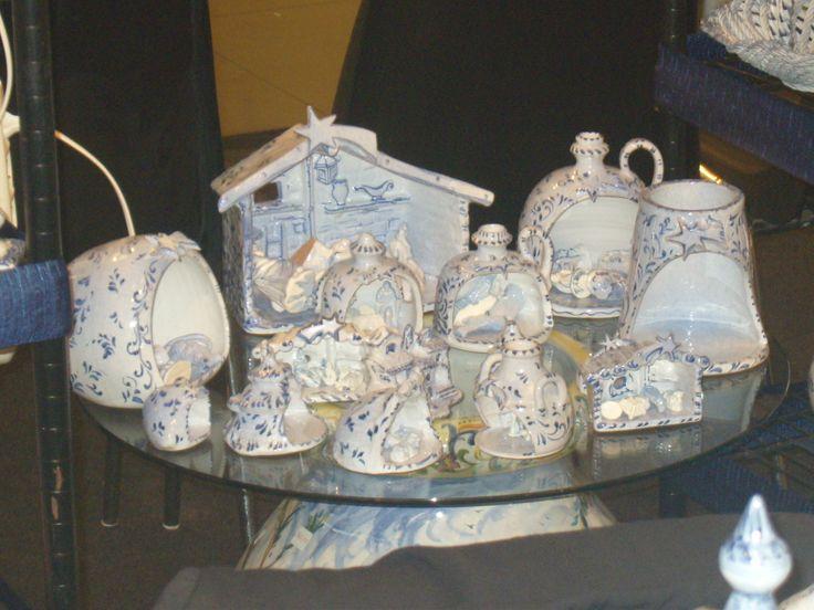 """Idee per presepi in ceramica stile """"Bianco Blu"""" di B.F. di Barbara Fresia - Savona"""