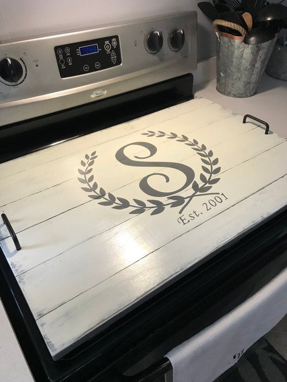 Rustic Farmhouse Custom Wooden Stove Top Cover Tray