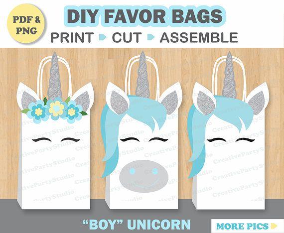 Boy Unicorn FAVOR BAGS/ Unicorn Birthday/ Unicorn Party