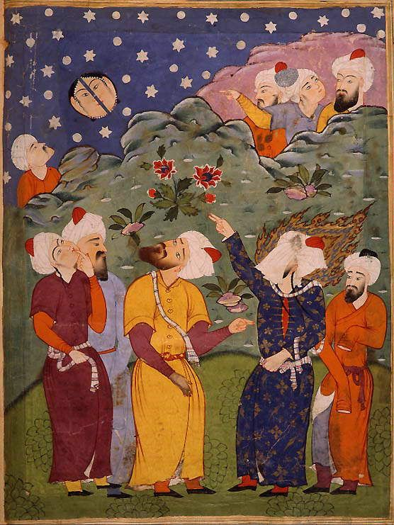 "Mohammed Splits the Moon. Illustration taken from a ""Falnameh,"" a sixteenth century Persian book of prophesies. Artist unknown; watercolor p..."