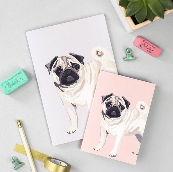 Set Of Two Pug Notebooks